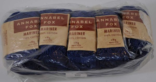 10 X 50g Annabel fox 100% Cotton Denim blue look 10 ply aran weight 500g